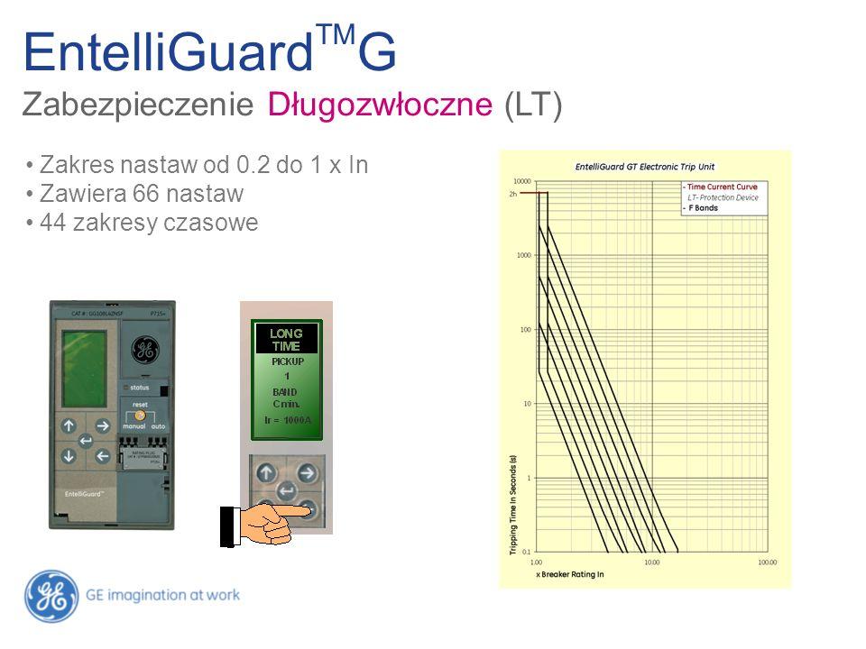 Zakres nastaw od 0.2 do 1 x In Zawiera 66 nastaw 44 zakresy czasowe EntelliGuard TM G Zabezpieczenie Długozwłoczne (LT)