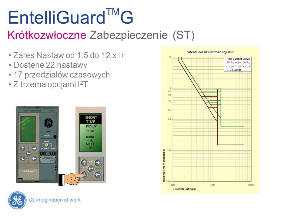 Zares Nastaw od 1.5 do 12 x Ir Dostęne 22 nastawy 17 przedziałów czasowych Z trzema opcjami I 2 T EntelliGuard TM G Krótkozwłoczne Zabezpieczenie (ST)