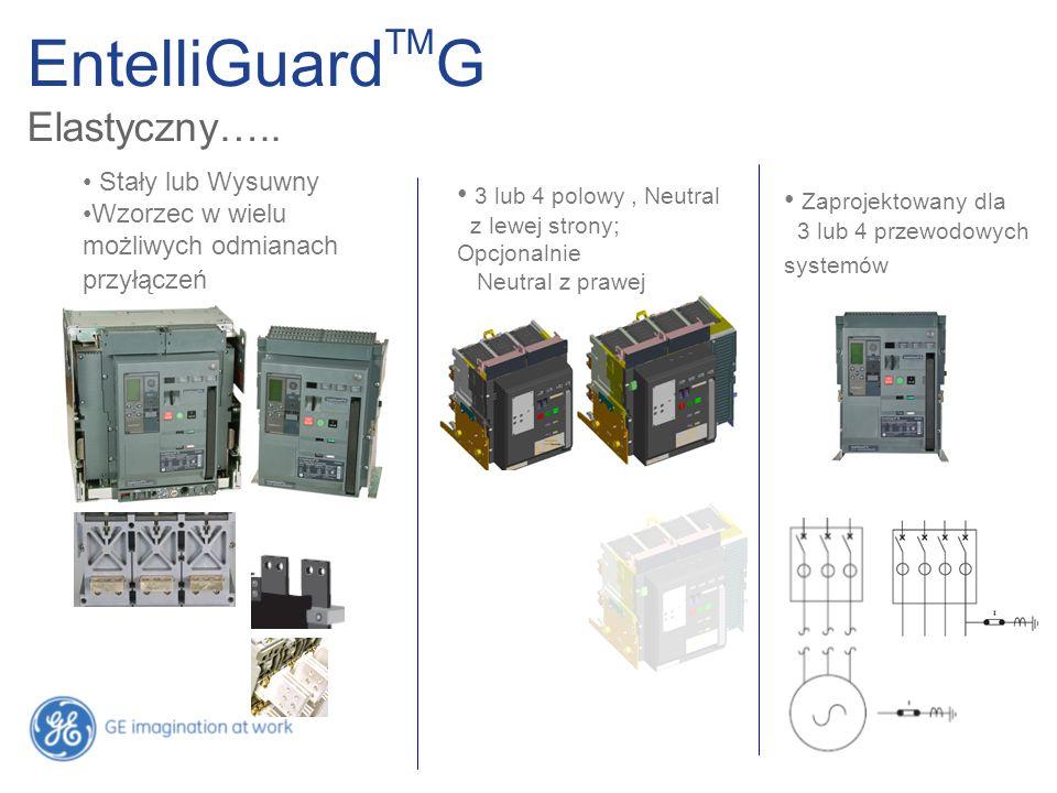 EntelliGuard TM G Elastyczny….. Stały lub Wysuwny Wzorzec w wielu możliwych odmianach przyłączeń 3 lub 4 polowy, Neutral z lewej strony; Opcjonalnie N