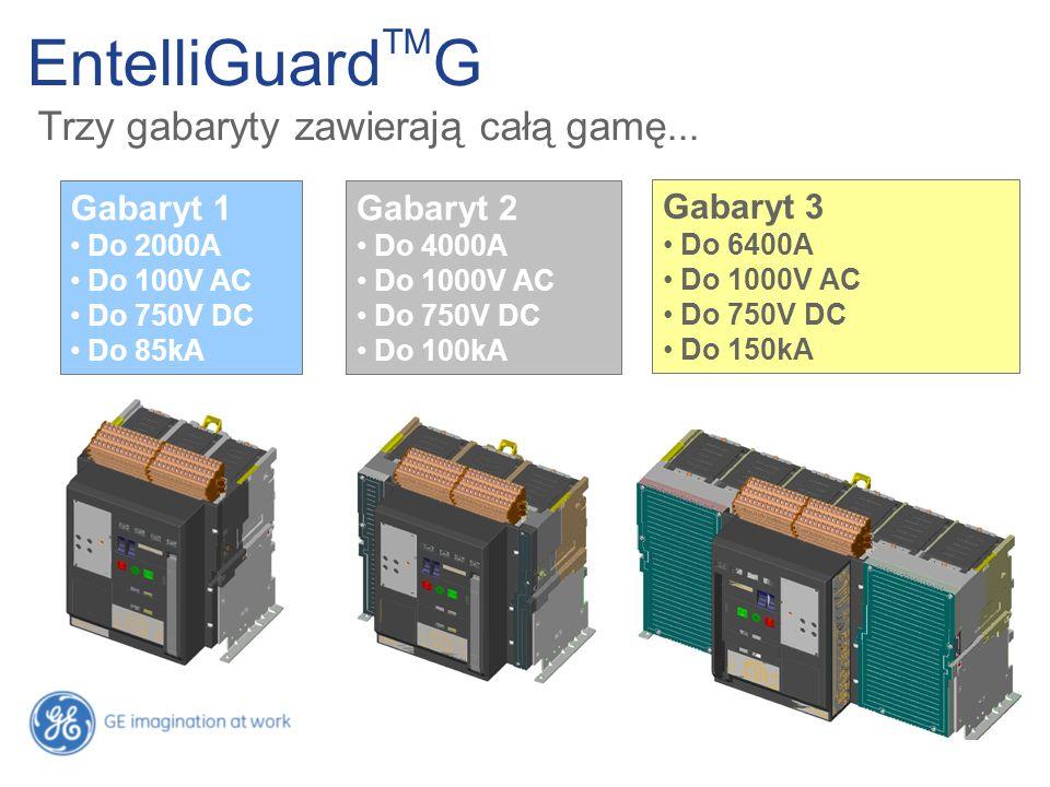 EntelliGuard TM G Trzy gabaryty zawierają całą gamę... Gabaryt 1 Do 2000A Do 100V AC Do 750V DC Do 85kA Gabaryt 2 Do 4000A Do 1000V AC Do 750V DC Do 1