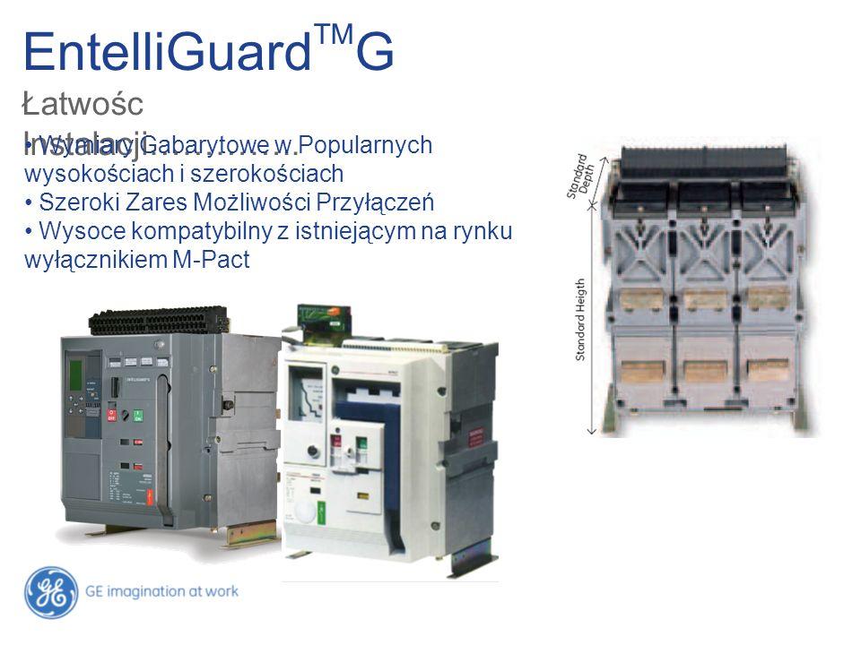 EntelliGuard TM G Łatwośc Instalacji………….. Wymiary Gabarytowe w Popularnych wysokościach i szerokościach Szeroki Zares Możliwości Przyłączeń Wysoce ko