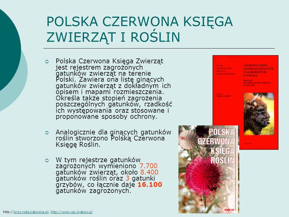 POLSKA CZERWONA KSIĘGA ZWIERZĄT I ROŚLIN Polska Czerwona Księga Zwierząt jest rejestrem zagrożonych gatunków zwierząt na terenie Polski. Zawiera ona l