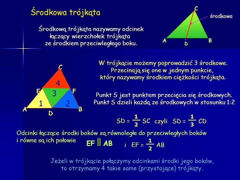 Symetralne boków trójkąta Symetralna odcinka to prosta prostopadła, dzieląca odcinek na dwie równe części inaczej: oś symetrii odcinka, która jest do