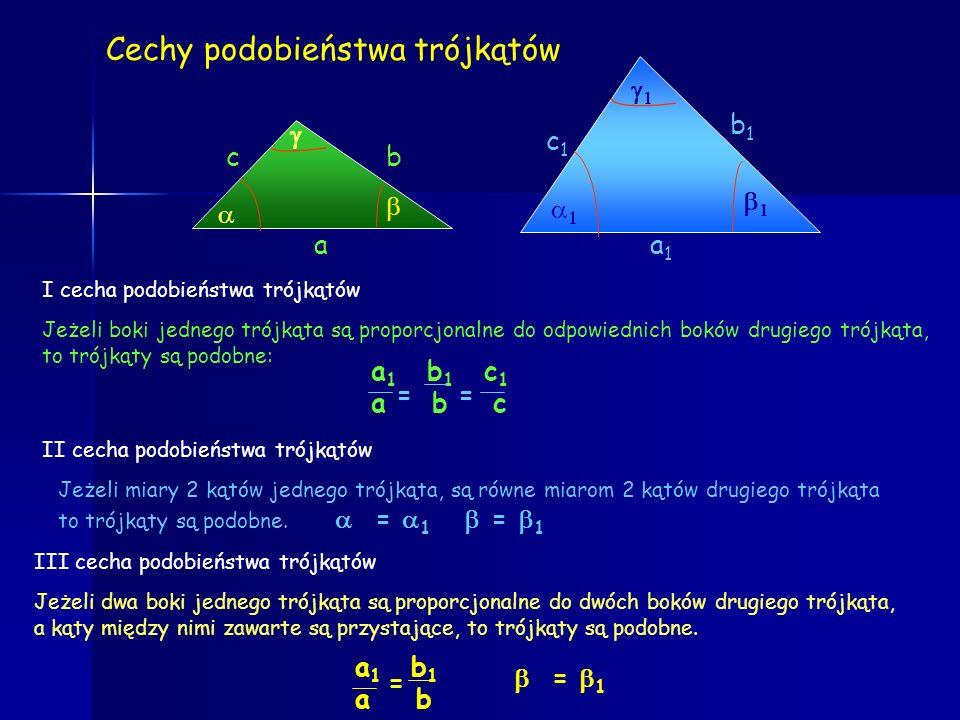 Cechy przystawania trójkątów a b d e f Jeżeli 3 boki jednego trójkąta są odpowiednio równe trzem bokom drugiego trójkąta, to trójkąty są przystające:
