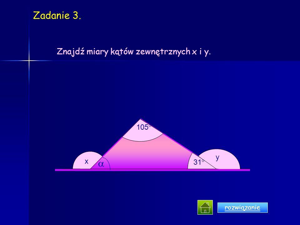 b) 95 40 20 x y. A B C D O Znajdź kąty x i y. a) 30 50 y x AB CD A DC O B Zadanie 2.