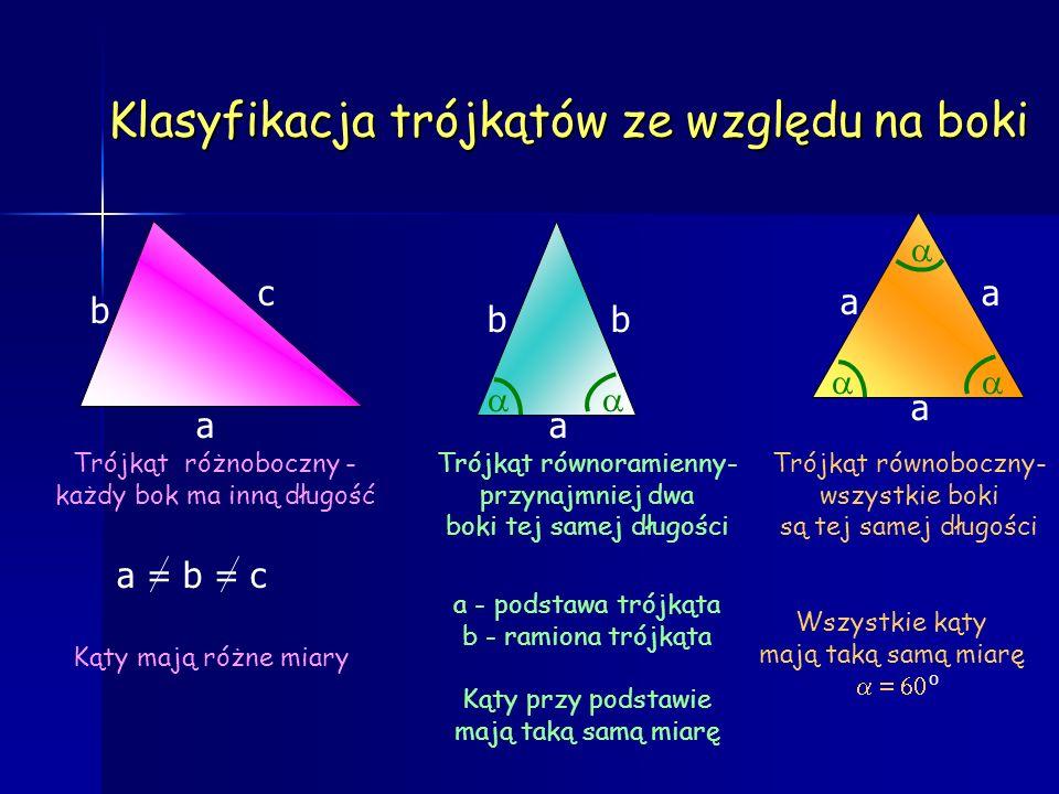 Klasyfikacja trójkątów ze względu na kąty Trójkąt ostrokątny- wszystkie kąty ostre Trójkąt rozwartokątny- jeden kąt rozwarty Trójkąt prostokątny- jede