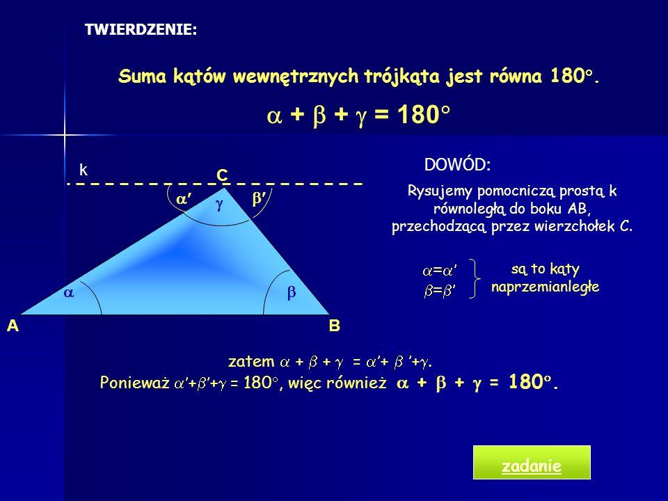 Klasyfikacja trójkątów ze względu na boki Trójkąt równoramienny- przynajmniej dwa boki tej samej długości Trójkąt równoboczny- wszystkie boki są tej s