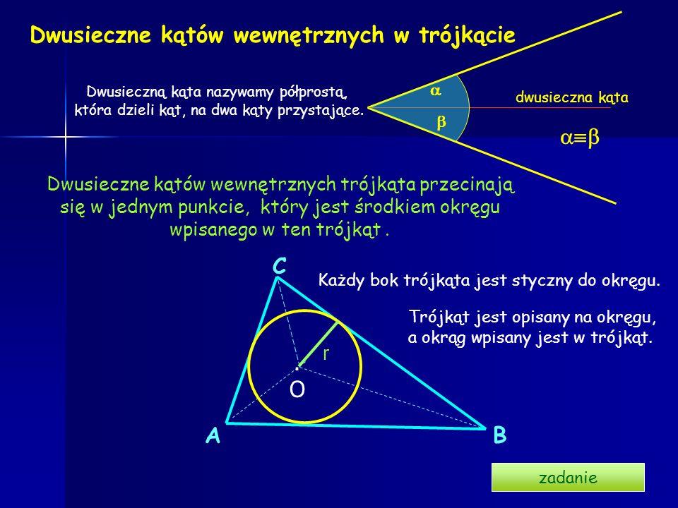 Wysokości w trójkącie h 1, h 2, h 3 - wysokości trójkąta. h1h1 h 2 h3h3 Wysokością trójkąta nazywamy odcinek poprowadzony prostopadle z wierzchołka do