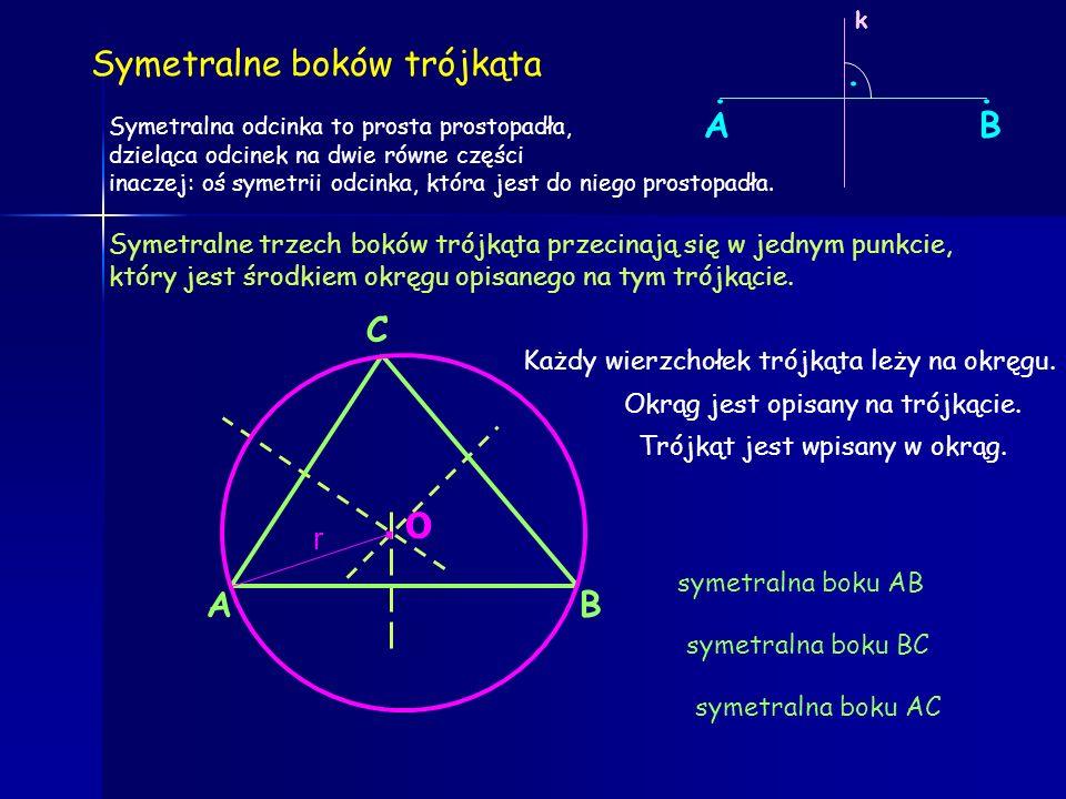 Dwusieczne kątów wewnętrznych trójkąta przecinają się w jednym punkcie, który jest środkiem okręgu wpisanego w ten trójkąt. dwusieczna kąta Dwusieczne