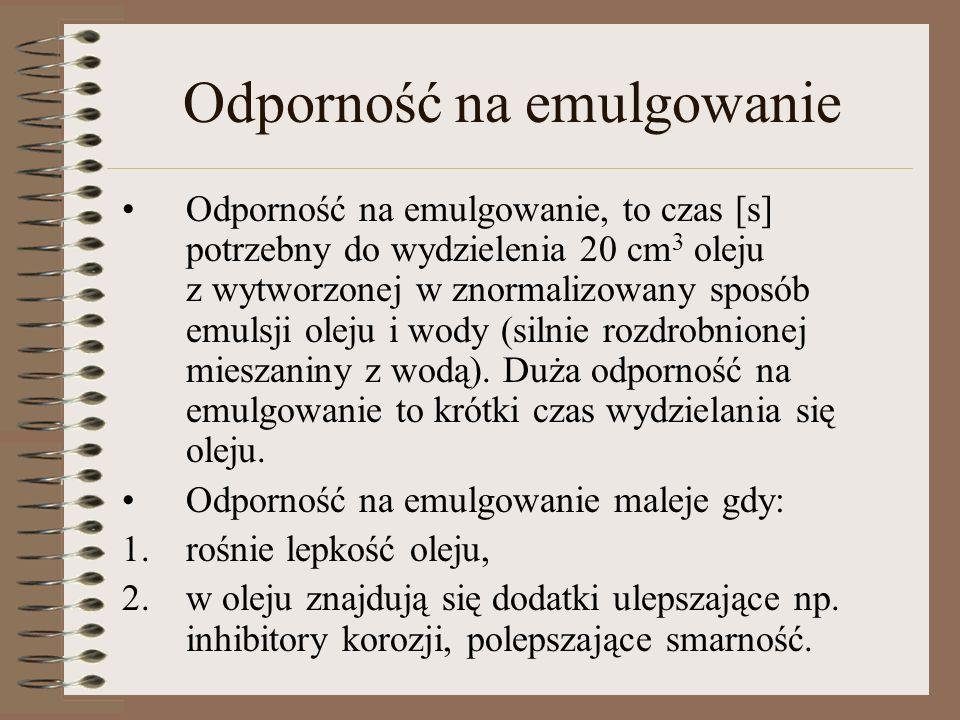 Odporność na emulgowanie Odporność na emulgowanie, to czas [s] potrzebny do wydzielenia 20 cm 3 oleju z wytworzonej w znormalizowany sposób emulsji ol