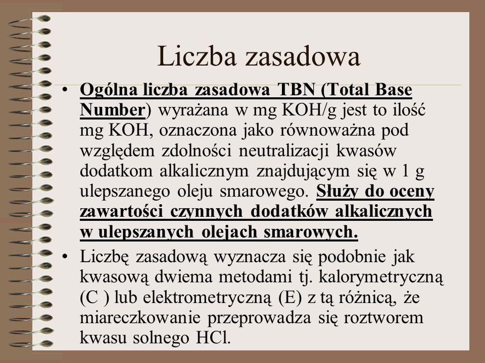 Liczba zasadowa Ogólna liczba zasadowa TBN (Total Base Number) wyrażana w mg KOH/g jest to ilość mg KOH, oznaczona jako równoważna pod względem zdolno