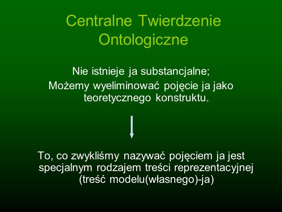 Centralne Twierdzenie Ontologiczne Nie istnieje ja substancjalne; Możemy wyeliminować pojęcie ja jako teoretycznego konstruktu. To, co zwykliśmy nazyw