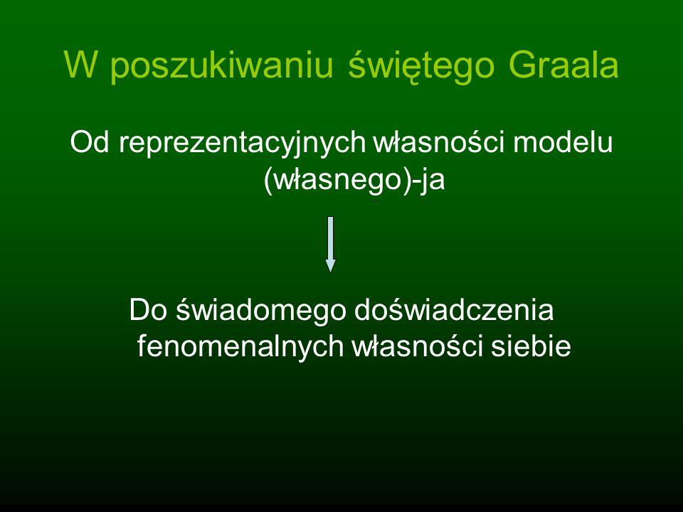 Reprezentacyjny charakter modelu(własnego)-ja Model(własnego)-ja składa się jedynie ze złożonych, dynamicznych stanów systemu; Modele(własnego)-ja są przezroczystymi narzędziami systemu przetwarzającego informacje; Model może być opisywany na wielu poziomach; Poczucie substancjalności, esencjonalności, indywidualności są specjalnymi formami świadomej treści reprezentacyjnej; Reprezentacyjna struktura doświadczenia integrowana w oknie jednoczesności i rozpoznawana jako spójny model (przezroczystość).