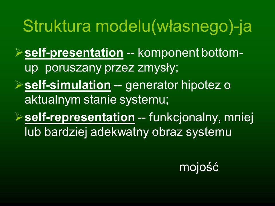 Struktura modelu(własnego)-ja self-presentation -- komponent bottom- up poruszany przez zmysły; self-simulation -- generator hipotez o aktualnym stani