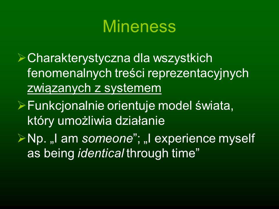 Mineness Charakterystyczna dla wszystkich fenomenalnych treści reprezentacyjnych związanych z systemem Funkcjonalnie orientuje model świata, który umo