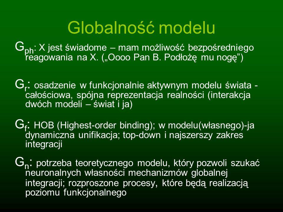 Globalność modelu G ph : X jest świadome – mam możliwość bezpośredniego reagowania na X. (Oooo Pan B. Podłożę mu nogę) G r : osadzenie w funkcjonalnie