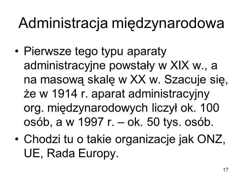 17 Administracja międzynarodowa Pierwsze tego typu aparaty administracyjne powstały w XIX w., a na masową skalę w XX w. Szacuje się, że w 1914 r. apar