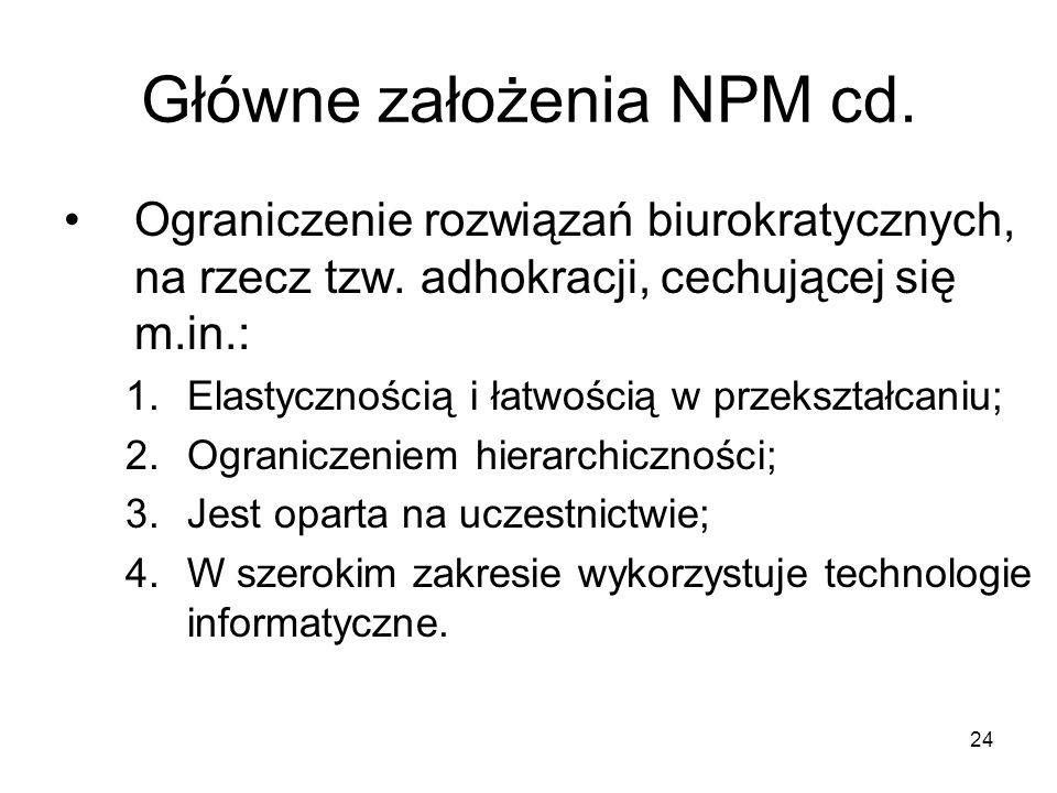 24 Główne założenia NPM cd. Ograniczenie rozwiązań biurokratycznych, na rzecz tzw. adhokracji, cechującej się m.in.: 1.Elastycznością i łatwością w pr