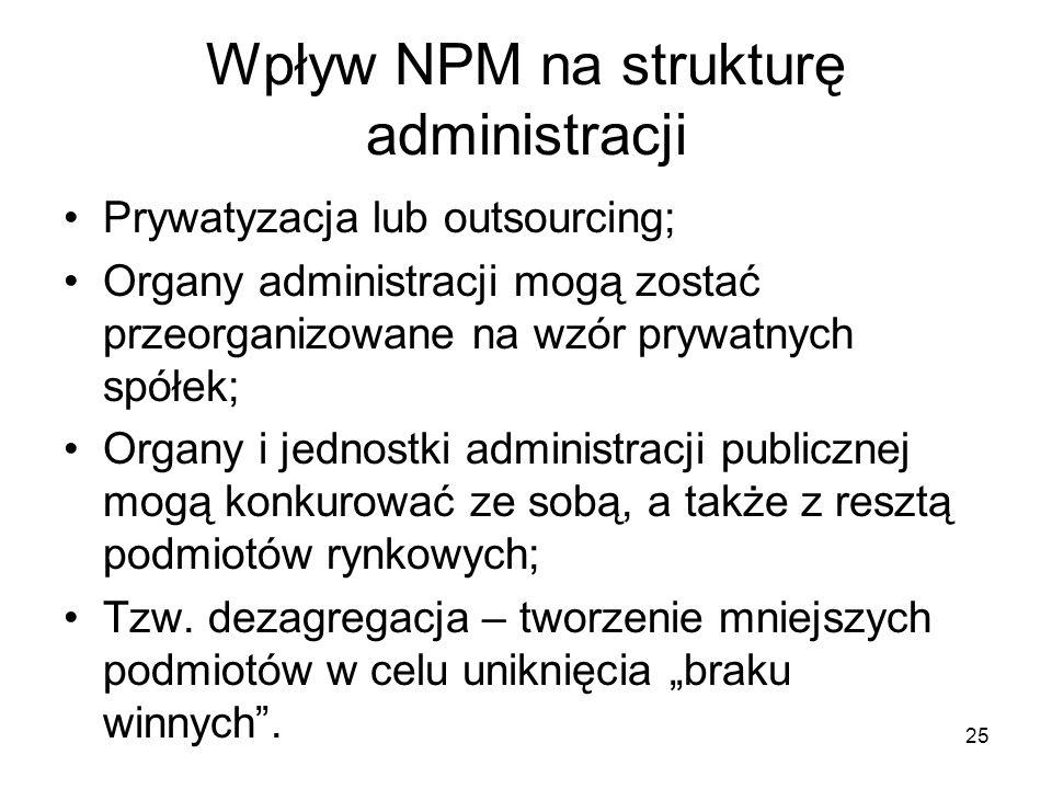 25 Wpływ NPM na strukturę administracji Prywatyzacja lub outsourcing; Organy administracji mogą zostać przeorganizowane na wzór prywatnych spółek; Org