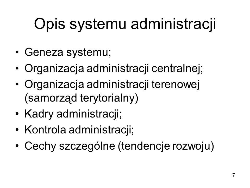 7 Opis systemu administracji Geneza systemu; Organizacja administracji centralnej; Organizacja administracji terenowej (samorząd terytorialny) Kadry a