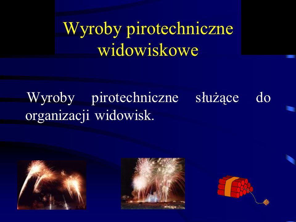 Wyroby pirotechniczne widowiskowe Wyroby pirotechniczne służące do organizacji widowisk.