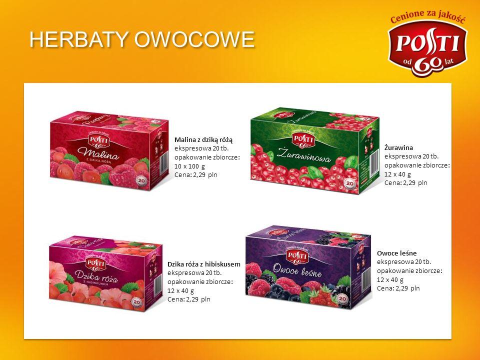 HERBATY OWOCOWE Owoce leśne ekspresowa 20 tb. opakowanie zbiorcze: 12 x 40 g Cena: 2,29 pln Dzika róża z hibiskusem ekspresowa 20 tb. opakowanie zbior