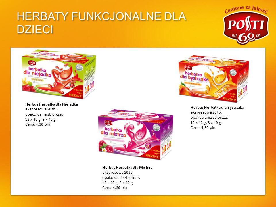 HERBATY FUNKCJONALNE DLA DZIECI Herbuś Herbatka dla Niejadka ekspresowa 20 tb. opakowanie zbiorcze: 12 x 40 g, 3 x 40 g Cena: 4,30 pln Herbuś Herbatka