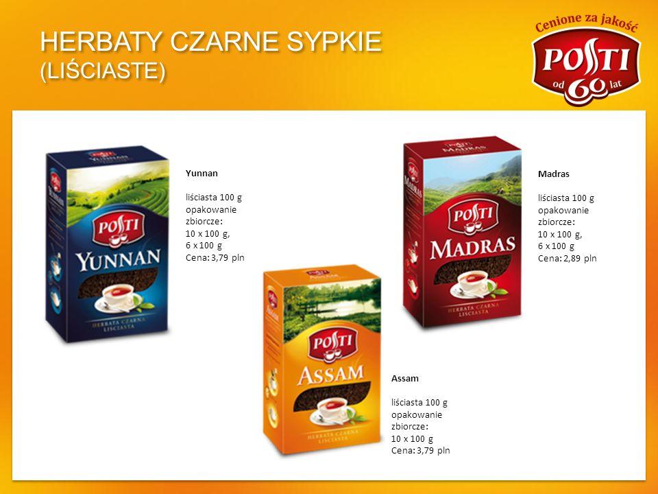 HERBATY CZARNE SYPKIE (GRANULOWANE ) Golden India Tea granulowana 100 g opakowanie zbiorcze: 10 x 100 g, 20 x 100 g Cena: 1,05 pln Indyjska granulowana 80 g opakowanie zbiorcze: 10 x 80 g, 25 x 80 g Cena: 0,87 pln INTENSYWNA - NOWOŚĆ granulowana 80 g + 20 g gratis opakowanie zbiorcze: 10 x 100 g Cena: 2,99 pln