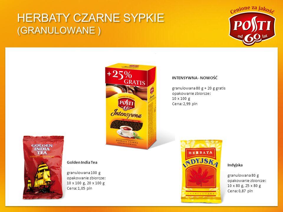 HERBATY CZARNE SYPKIE (GRANULOWANE ) Golden India Tea granulowana 100 g opakowanie zbiorcze: 10 x 100 g, 20 x 100 g Cena: 1,05 pln Indyjska granulowan