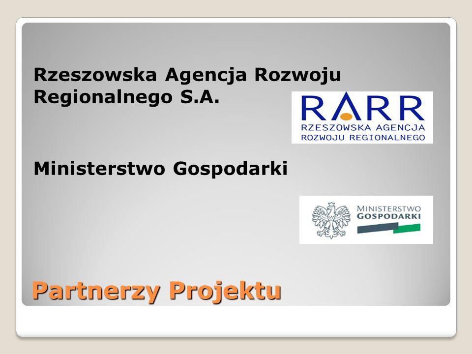 Partnerzy Projektu Rzeszowska Agencja Rozwoju Regionalnego S.A. Ministerstwo Gospodarki