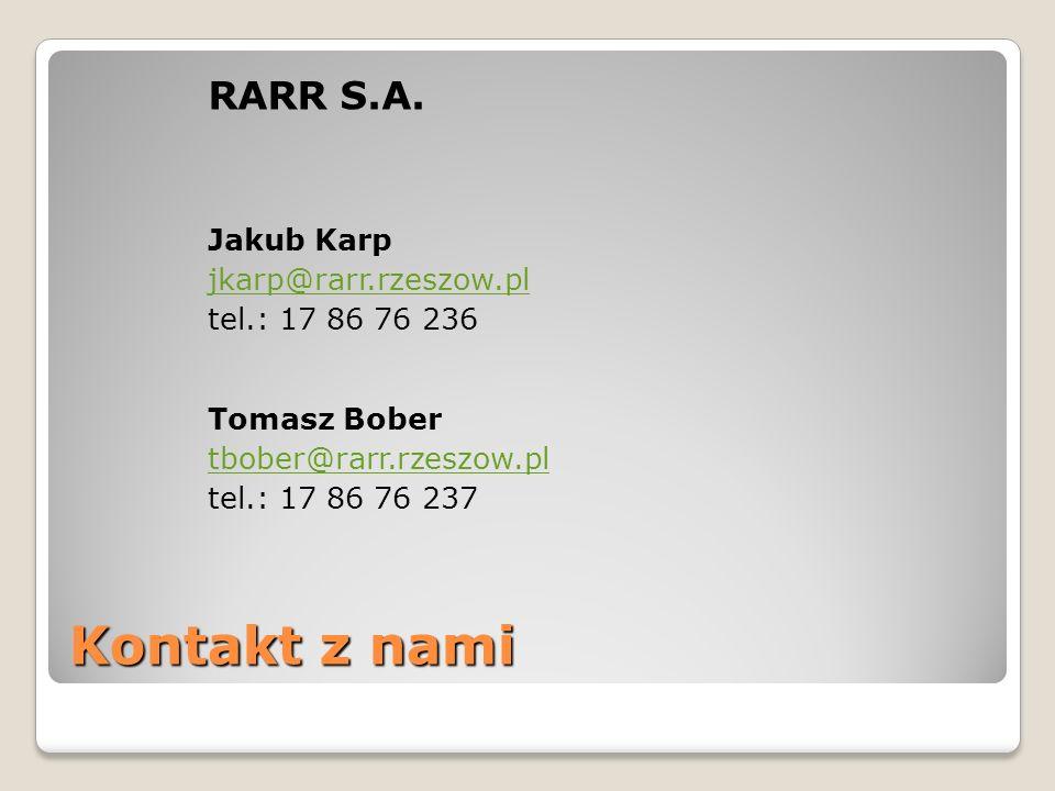 Kontakt z nami RARR S.A. Jakub Karp jkarp@rarr.rzeszow.pl tel.: 17 86 76 236 Tomasz Bober tbober@rarr.rzeszow.pl tel.: 17 86 76 237
