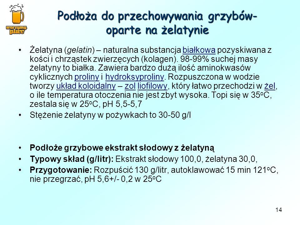 14 Podłoża do przechowywania grzybów- oparte na żelatynie Żelatyna (gelatin) – naturalna substancja białkowa pozyskiwana z kości i chrząstek zwierzęcy