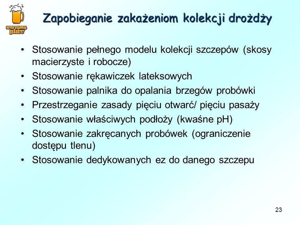 23 Zapobieganie zakażeniom kolekcji drożdży Stosowanie pełnego modelu kolekcji szczepów (skosy macierzyste i robocze) Stosowanie rękawiczek lateksowyc
