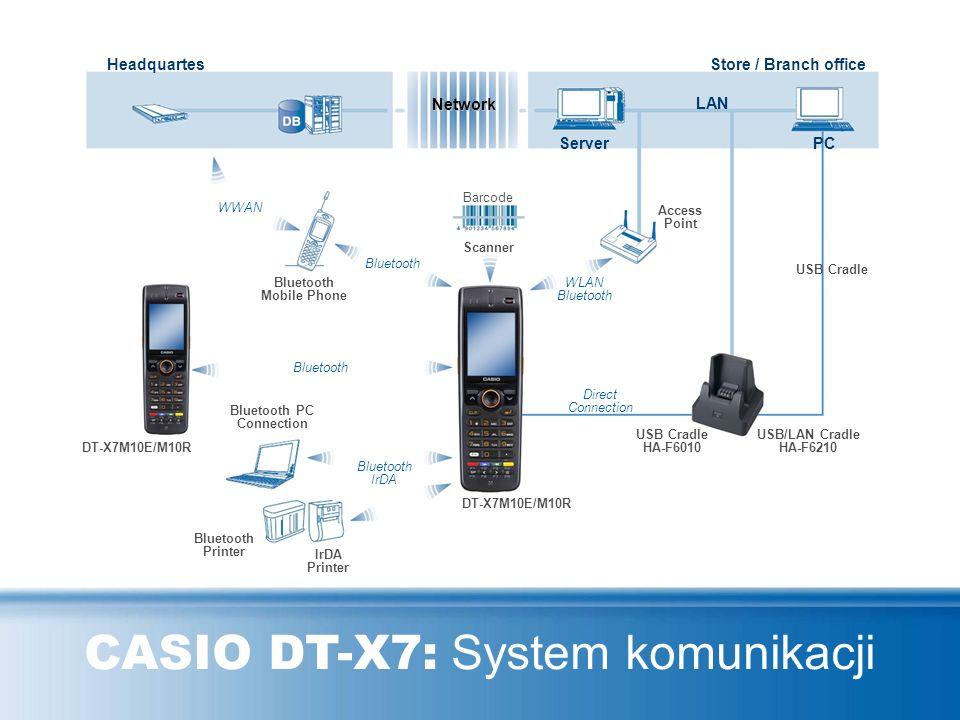 CASIO DT-X7: Akcesoria Podwójna ładowarka HA-F36DCHG Stacja USB HA-F6010 Stacja USB + LAN HA-F6210 Ładowarka HA-F30CHG Zasilacz AC AD-S60160BE Pasek H