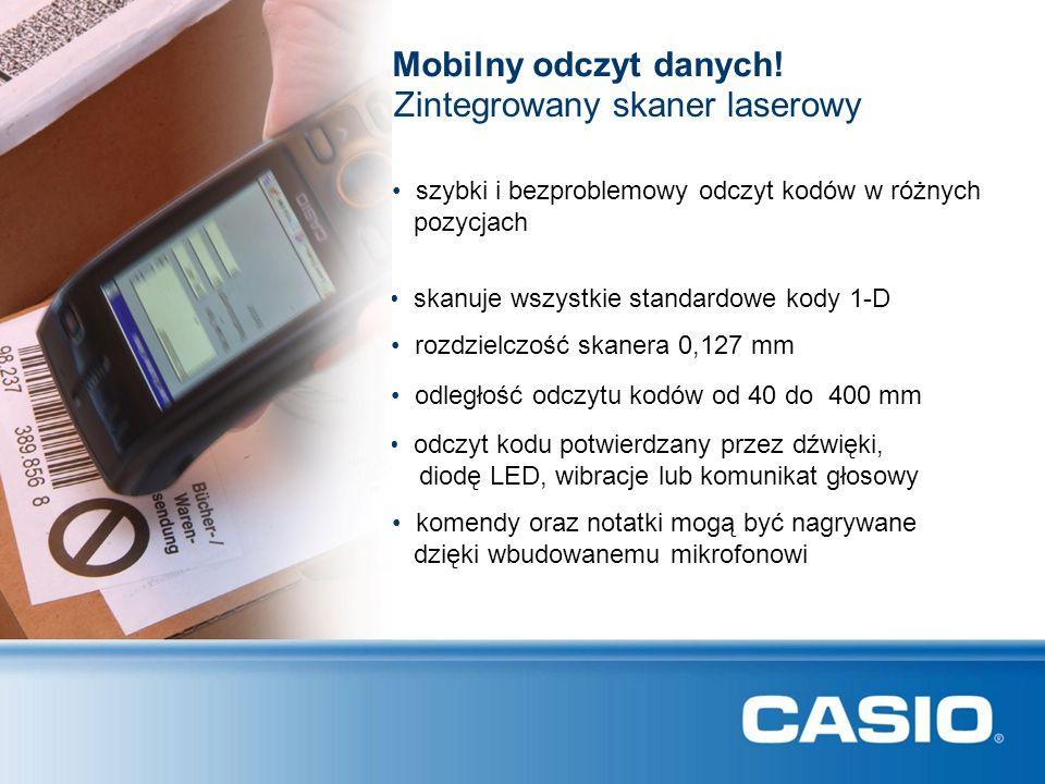CASIO DT-X7: Specyfikacja techniczna CPU PXA270 416MHz System operacyjnyMicrosoft ® Windows ® CE 5.0 (English version) Pamięć RAM64 MB F-ROM64 MB (około 29 MB dla użytkownika) Display Casio-Super-LCDKolorowy transrefleksyjny TFT Rozmiar / Rozdzielczość 2,4 cala, Rozdzielczość 240x320 QVGA, 65.536 kolorów PodświetlanieTechnologia LEDowa Czytnik kodów TypSkaner laserowy Rozdzielczość0.127 mm Odległość odczytu40-400 mm Odczytywane kody UPC-A, UPC-E, EAN8 (JAN8), EAN13 (JAN13), Codabar (NW-7), Code39, Interleaved 2 of 5 (ITF), MSI, Industrial2 of 5, Code93, Code128 (EAN128), IATA, RSS-14, RSSLimited, RSS Expanded, RSS-14 Stacked, RSS Expanded Stacked Wprowadzanie danych Klawiatura 29 klawiszy, 3 klawisze skanera, kolorowe klawisze funkcyjne F1-F4 Komunikacja InterfejsyBluetooth ® Ver.2.0 (Class2), IrDA Ver.