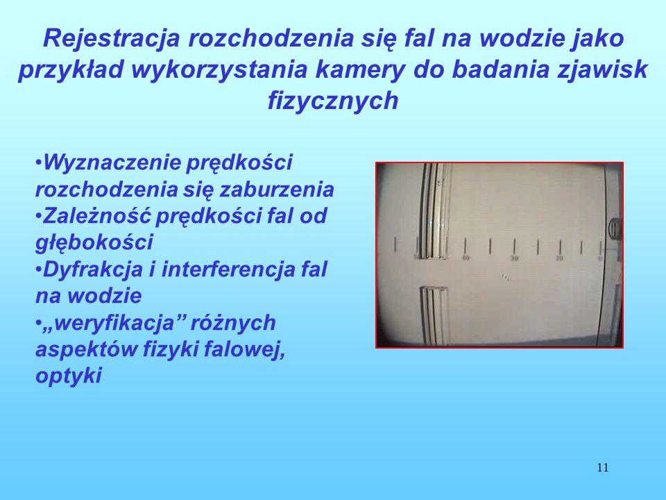 11 Rejestracja rozchodzenia się fal na wodzie jako przykład wykorzystania kamery do badania zjawisk fizycznych Wyznaczenie prędkości rozchodzenia się zaburzenia Zależność prędkości fal od głębokości Dyfrakcja i interferencja fal na wodzie weryfikacja różnych aspektów fizyki falowej, optyki