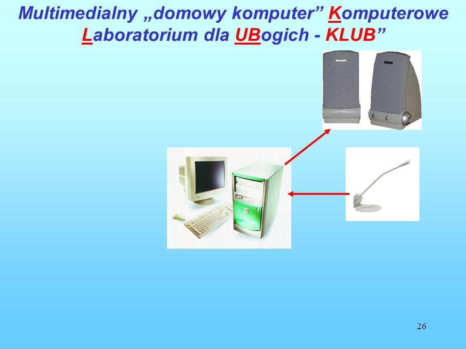 26 Multimedialny domowy komputer Komputerowe Laboratorium dla UBogich - KLUB