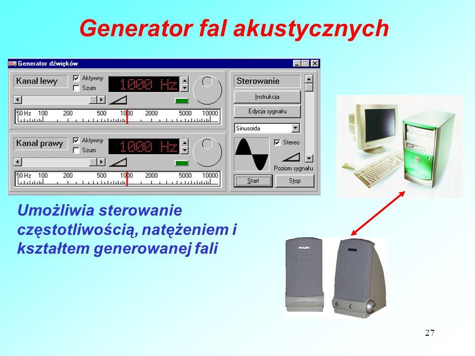27 Generator fal akustycznych Umożliwia sterowanie częstotliwością, natężeniem i kształtem generowanej fali