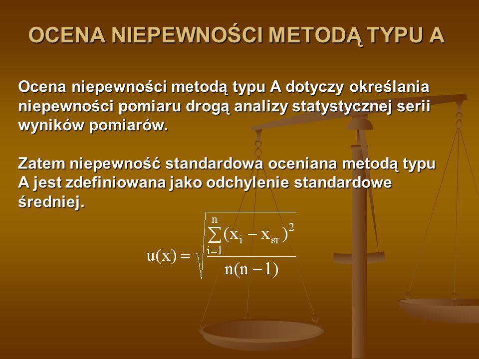 OCENA NIEPEWNOŚCI METODĄ TYPU B Ocena niepewności metodą typu B dotyczy określania niepewności pomiaru drogą inną niż metoda A tzn.