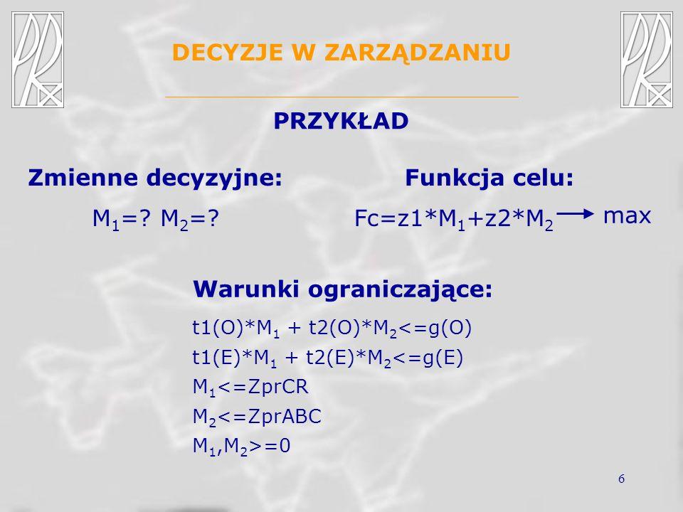 6 DECYZJE W ZARZĄDZANIU PRZYKŁAD Zmienne decyzyjne: M 1 =?M 2 =? Warunki ograniczające: t1(O)*M 1 + t2(O)*M 2 <=g(O) t1(E)*M 1 + t2(E)*M 2 <=g(E) M 1
