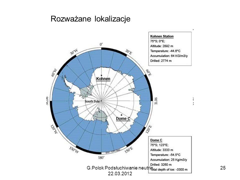 Rozważane lokalizacje G.Polok Podsłuchiwanie neutrin 22.03.2012 25
