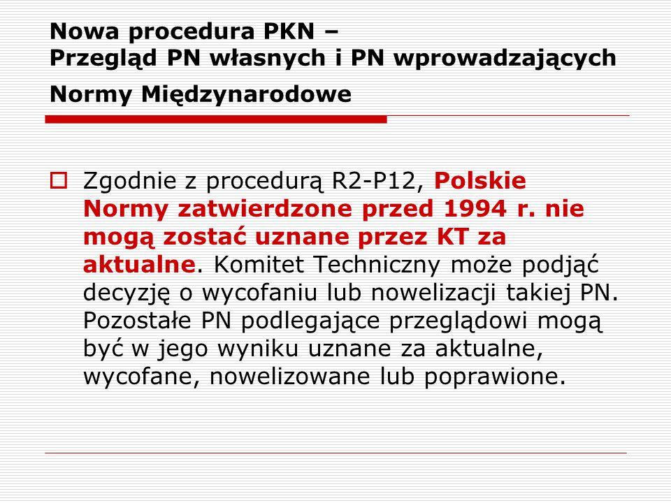 Nowa procedura PKN – Przegląd PN własnych i PN wprowadzających Normy Międzynarodowe Zgodnie z procedurą R2-P12, Polskie Normy zatwierdzone przed 1994
