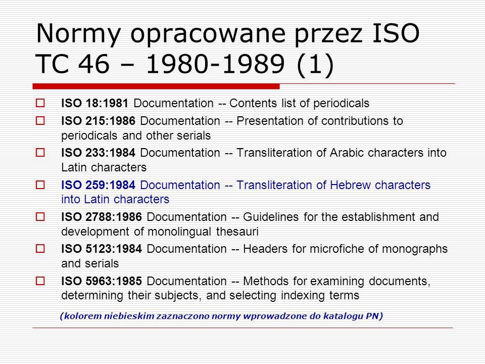 Normy opracowane przez ISO TC 46 – 1980-1989 (1) ISO 18:1981 Documentation -- Contents list of periodicals ISO 215:1986 Documentation -- Presentation