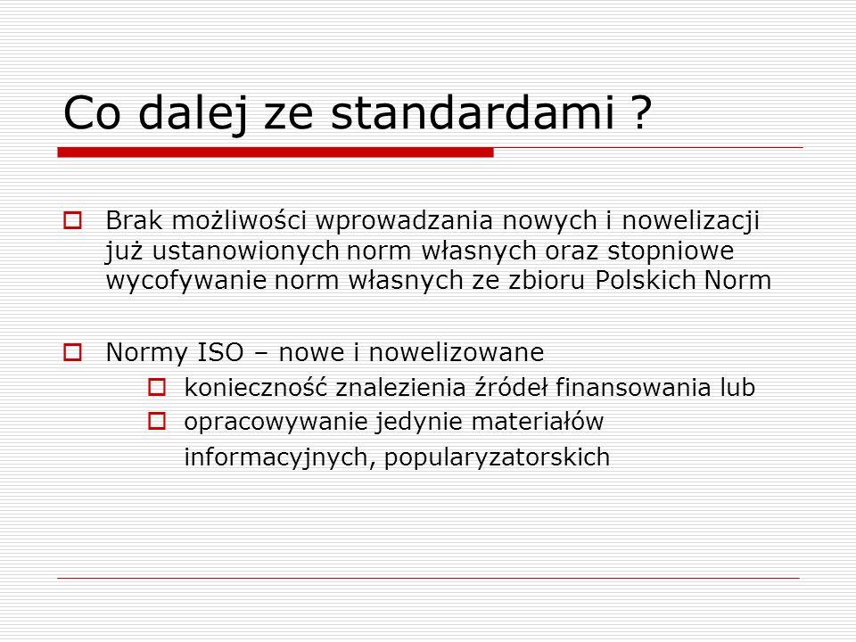 Co dalej ze standardami ? Brak możliwości wprowadzania nowych i nowelizacji już ustanowionych norm własnych oraz stopniowe wycofywanie norm własnych z