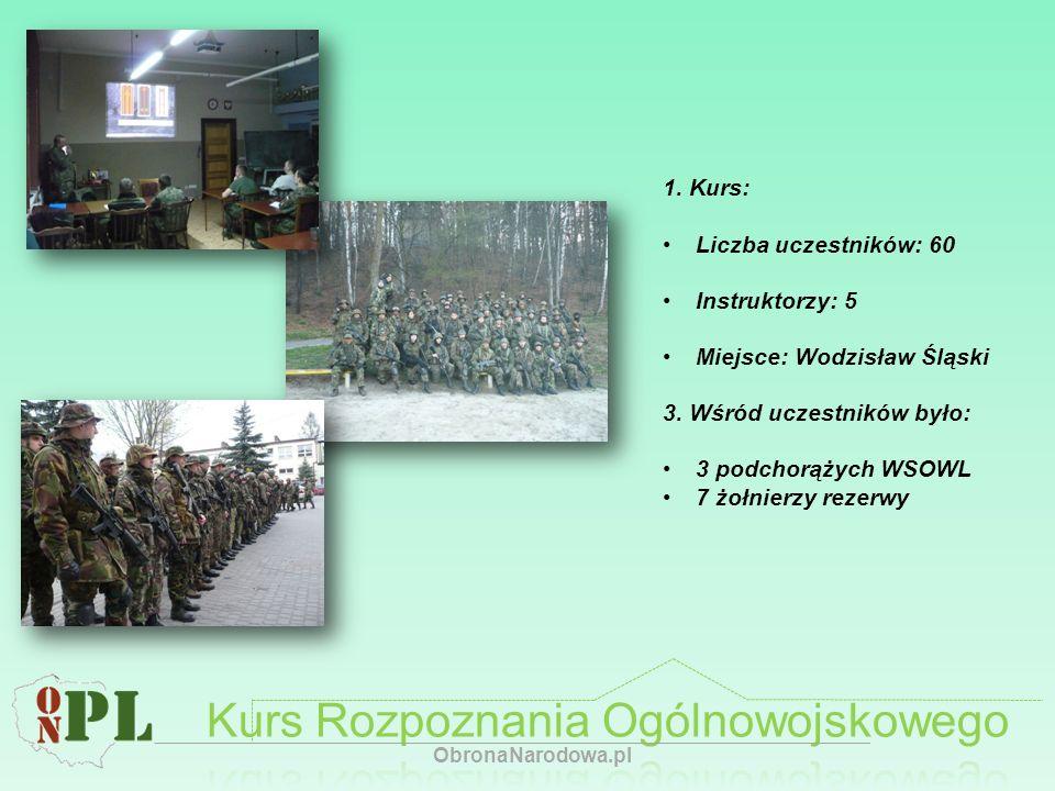 1. Kurs: Liczba uczestników: 60 Instruktorzy: 5 Miejsce: Wodzisław Śląski 3. Wśród uczestników było: 3 podchorążych WSOWL 7 żołnierzy rezerwy