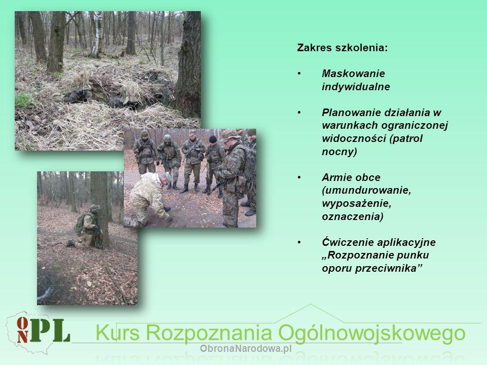 Zakres szkolenia: Maskowanie indywidualne Planowanie działania w warunkach ograniczonej widoczności (patrol nocny) Armie obce (umundurowanie, wyposaże