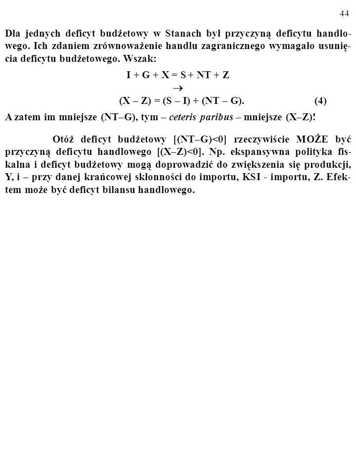 43 Kto ma rację w takich sporach, zależy od natury związków przyczynowych zmiennych z równania przypływów i odpływów (np. związków (X–Z), (S–I) i (NT–
