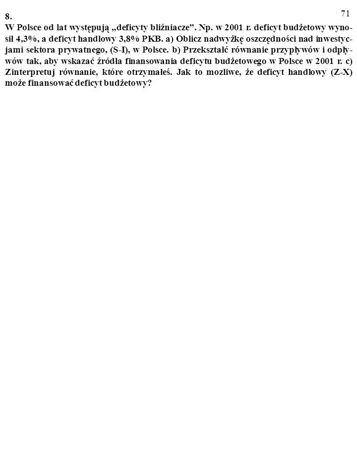 70 7. Odpowiadając na pytania (a), (b) i (c), wykorzystaj równanie przypływow i odpły- wów: a) Co to znaczy: Sektor prywatny oszczędza więcej, niż wyd