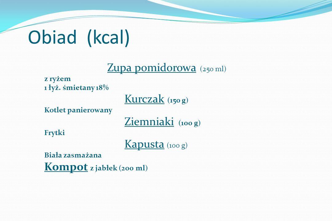 Obiad (kcal) Zupa pomidorowa (250 ml) z ryżem 93 1 łyż.
