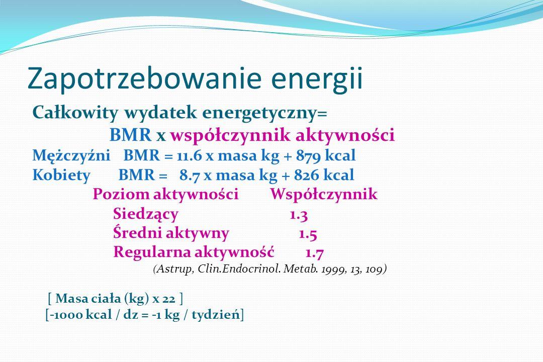 Wskaźniki dziennego zapotrzebowania GDA - Guideline Daily Amounts (dieta zbilansowana, przeciętna) Energia 2000 kcal Białko 50 g Węglowodany 270 g Cukier 90 g Tłuszcz 70 g Tłuszcze nasycone 20 g Błonnik 25 g Sód (sól) 2.4 g ( 6 g)